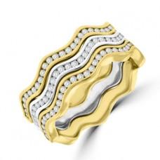 18ct Three-stone Gold Diamond Wave Rings