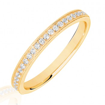 18ct Gold .15ct Diamond Micro claw Set Wedding Ring