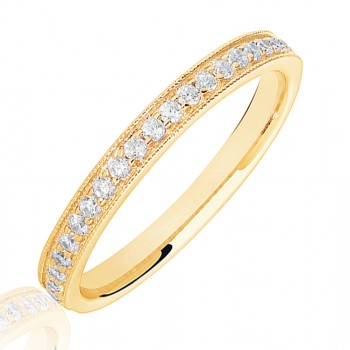 18ct Gold .20ct Diamond Micro claw set Wedding Ring