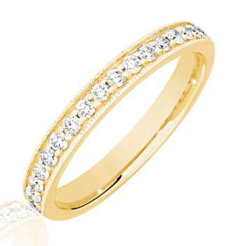 18ct Gold .33ct Diamond Micro Claw Set Wedding Ring