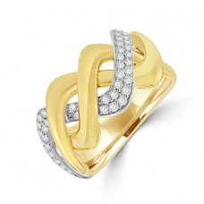 18ct Gold 3 row Crossover Diamond Ring