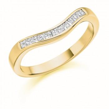 18ct Gold Princess cut Diamond Bow shaped Wedding Ring