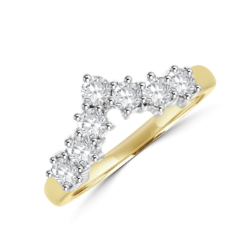 18ct Gold Diamond Wishbone Shaped Eternity Ring