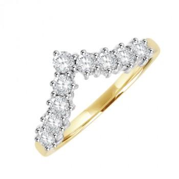 18ct Gold 9-stone Wishbone Shaped Diamond Eternity Ring
