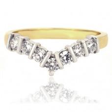 18ct Gold 7-stone Bar Wishbone Eternity Ring