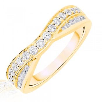 18ct Gold .50ct Brilliant & Baguette Diamond Overlap Ring