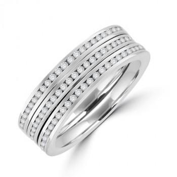 18ct White Gold 3-row Diamond Eternity Ring