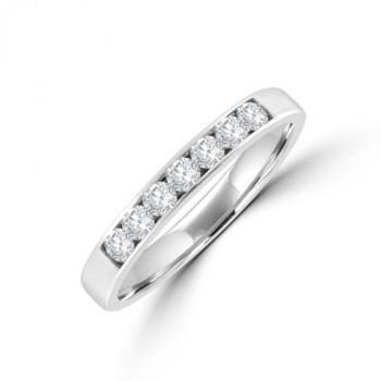 18ct White Gold 7-stone Diamond Channel set Eternity Ring