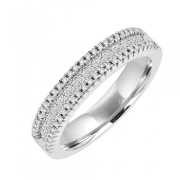 18ct White Gold 3 Row Diamond Eternity Style Ring.