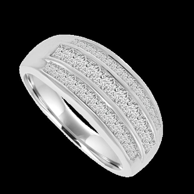 18ct white gold 3 row princess cut eternity ring