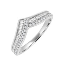 18ct White Gold Baguette Diamond Wishbone Eternity Ring