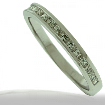 18ct White Gold Princess cut Diamond Wedding Ring