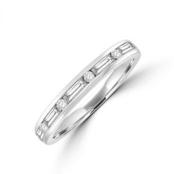 18ct White Gold Baguett & Brilliant cut Diamond Eternity Ring