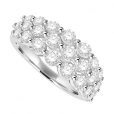 18ct White Gold 3-Row Diamond Cluster Eternity Ring