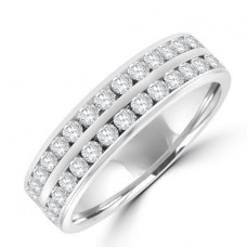 18ct White Gold Two-row Diamond Full Hoop Eternity Ring