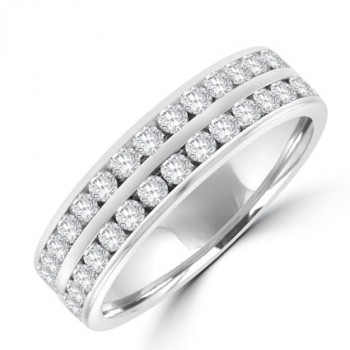 18ct White Gold Two-row Diamond Full Hoop Eternity Ring