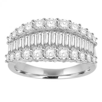 18ct White Gold 3 Row Baguette Diamond Eternity Ring