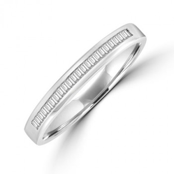 18ct White Gold Baguette Diamond Channel Wedding Ring
