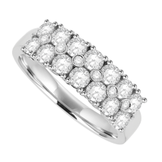 18ct White Gold 20-stone Diamond Double Row Eternity Ring