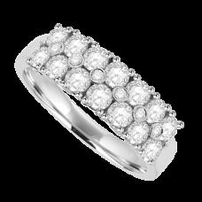 18ct White Gold 20-stone Diamond Double Row Eternity Ring