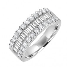 18ct White Gold Three-row Baguette Diamond Eternity Ring
