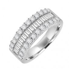 18ct White Gold Three-row Baguette Diamond Eternity Ring