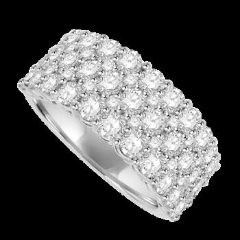 18ct White Gold 5 Row Diamond Cluster Eternity Ring