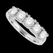 18ct White Gold 5-stone Diamond Eternity Rng