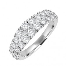 18ct White Gold 3row Diamond Eternity Style Ring