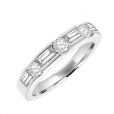 18ct White Gold Baguette & Brilliant Diamond Eternity Ring