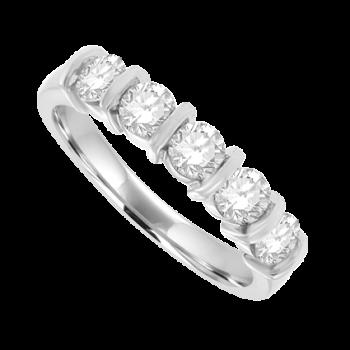 18ct White Gold 5-stone Diamond Bar set Eternity Ring