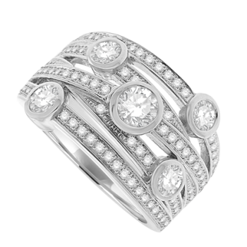 18ct White Gold 5 Row Diamond Scatterset Eternity Ring