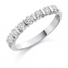 18ct White Gold 7-Stone Bar Set Diamond Eternity Ring