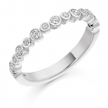 18ct White Gold Diamond Rubover Eternity Ring