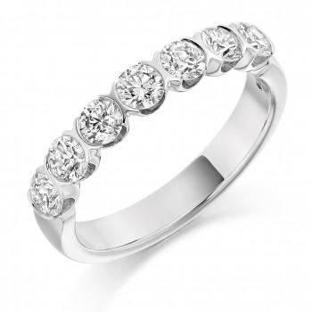 18ct White Gold Seven-stone Diamond Half Rubover Eternity Ring