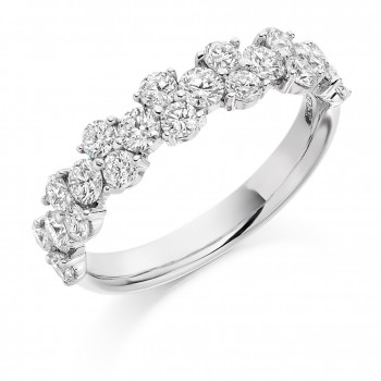 18ct White Gold Diamond 1x2 Cluster Eternity Ring