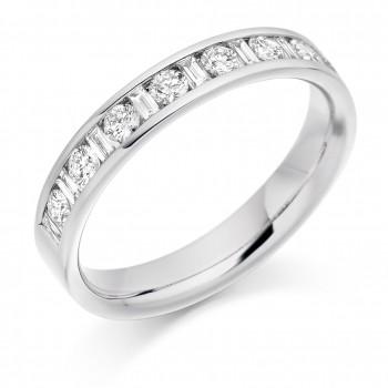 18ct White Gold Baguette & Brilliant cut Diamond Eternity Ring