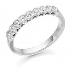 18ct White Gold 9-stone Diamond Rubover Eternity Ring