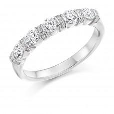 18ct White Gold 5-stone Diamond Pave Bar set Eternity Ring