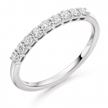 18ct White Gold 9-stone Diamond Eternity Ring