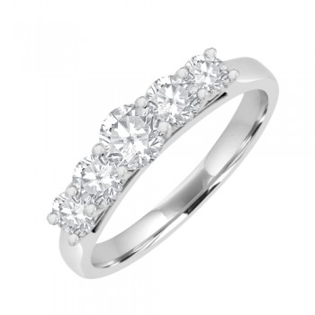18ct White Gold 5-stone Diamond Graduated Eternity Ring
