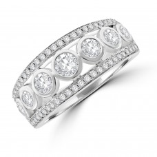 18ct White Gold 3-row Rub over Diamond Eternity Ring