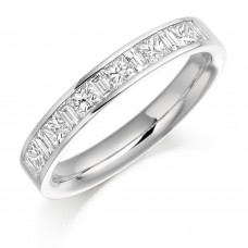 18ct White Gold Princess cut & Baguette Diamond Eternity Ring