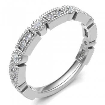 18ct White Gold Diamond Rectangle & Round Petals Eternity Ring