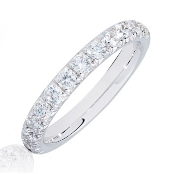 18ct White Gold .75ct Diamond French Pave Eternity Ring