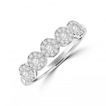 18ct White Gold Solitaire Illusion Diamond Eternity Ring