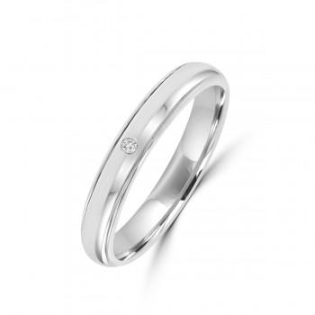 18ct White Gold Round Cut Diamond Polished Wedding Ring