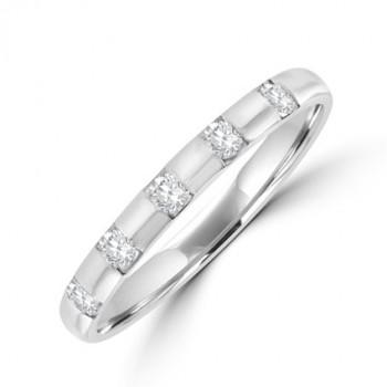 18ct White Gold 5-stone Diamond Band ring