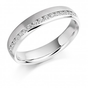 18ct White Gold Diamond Offset Wedding Ring