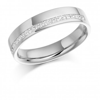 18ct White Gold Princess cut Diamond Offset Wedding Ring